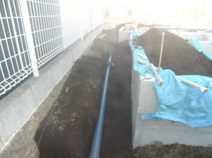 外周部、排水配管ちゅう~