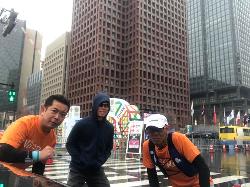 20ef0304b9 須崎社長と、タカラの新井君を誘って、東京マラソンゴール地点から皇居ランをしました。